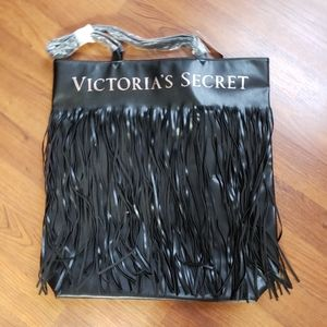 Victoria's Secret Black Fringed Faux Leather Tote